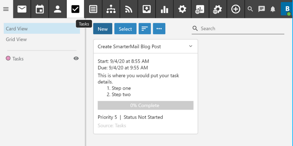 smartermail creating and using tasks to stay organized
